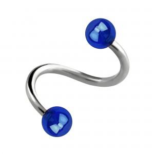 Spirale Piercing Hélix Acrylique Miroitant Boules Bleu