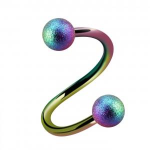 Piercing Hélix / Spirale Anodisé Multicolore Effet Brillant Boules
