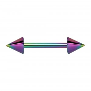 Rainbow Anodized Nipple Barbell Ring w/ Spikes