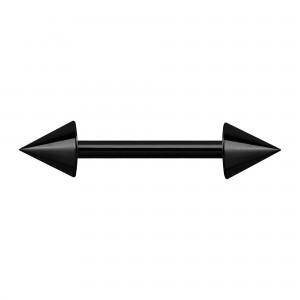 Black Anodized Nipple Blackline Barbell Ring w/ Spikes