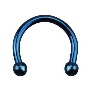Micro-Piercing Fer à Cheval Oreille Anodisé Bleu Mini-Boules
