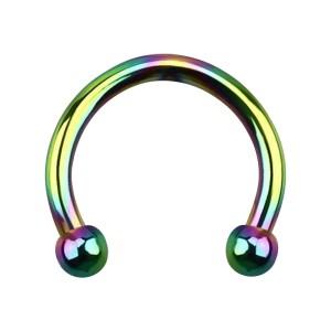 Micro-Piercing Fer à Cheval Oreille Anodisé Multicolore Mini-Boules