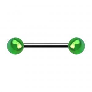 Brustpiercing Zwei Kugeln Acryl Effekt Schimmernd Grün