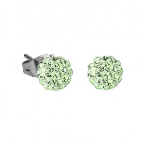 Green Crystal Ball 316L Surgical Steel Earrings Ear Pair