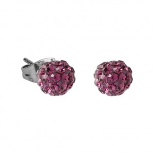 Purple Crystal Ball 316L Surgical Steel Earrings Ear Pair