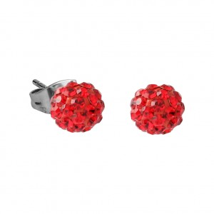 Red Crystal Ball 316L Surgical Steel Earrings Ear Pair
