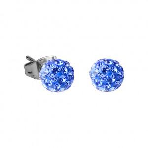 Boucles d'Oreilles Acier Chirurgical 316L Boule Cristal Bleu Foncé