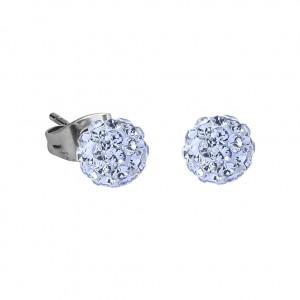 Light Blue Crystal Ball 316L Surgical Steel Earrings Ear Pair