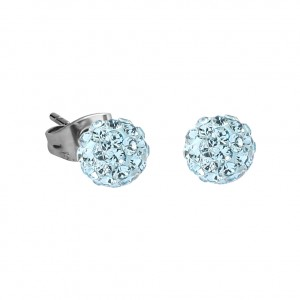Turquoise Crystal Ball 316L Surgical Steel Earrings Ear Pair