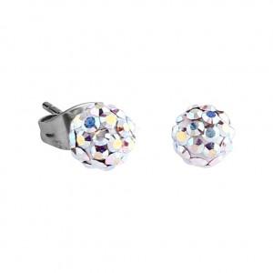 Rainbow Crystal Ball 316L Surgical Steel Earrings Ear Pair