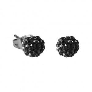 Black Crystal Ball 316L Surgical Steel Earrings Ear Pair
