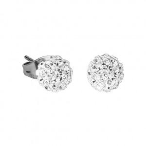 White Crystal Ball 316L Surgical Steel Earrings Ear Pair