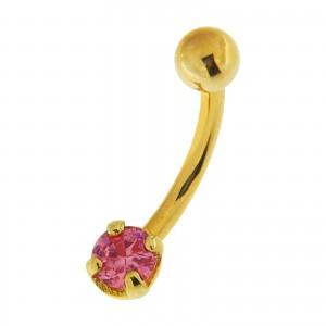Piercing Ombligo Oro Amarillo de 14K Zirconia 4 Garras Rosa