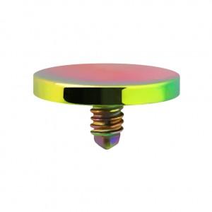 Embout Piercing Microdermal Disque Plat Anodisé Multicolore