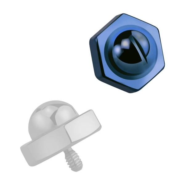 Blue Anodized Bolt Head Top For Microdermal Piercing