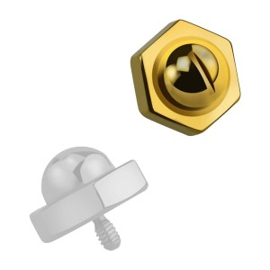 Top für Microdermal Piercing Schraubenkopf Eloxiert Gold
