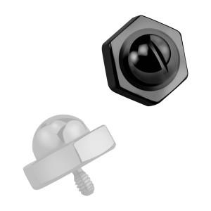 Embout Piercing Microdermal Tête Boulon Black-Line Anodisé Noir
