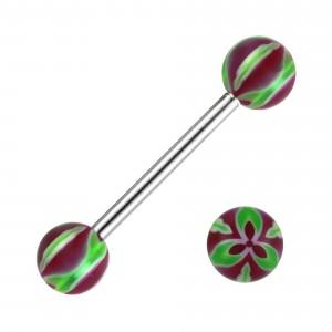 Piercing Langue Fleur Trois Pétales Acier 316L Vert / Violet