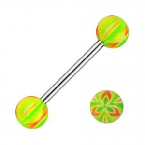 Piercing Langue Fleur Trois Pétales Acier 316L Orange / Vert