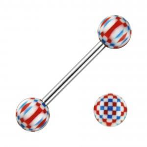 Piercing Langue Mosaïque Acier 316L Blanc / Rouge / Bleu