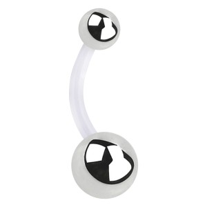 316L Steel Balls Transparent PTFE Bioflex Belly Button Ring Navel Bar