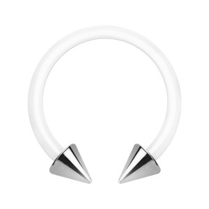 White PTFE Bioflex Circular Barbell w/ Two 316L Steel Spikes