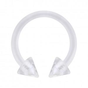 Piercing Fer à Cheval Bioflex PTFE Transparent Deux Piques Acrylique