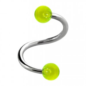 Green Transparent Two Balls Helix/Twisted Piercing Ring
