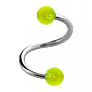 Piercing Spirale / Hélix Deux Boules Transparentes Vertes