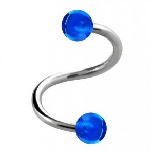 Piercing Spirale / Hélix Deux Boules Transparentes Bleues Foncé