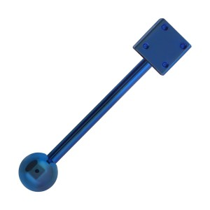 Dice Blue Anodized Tongue Barbell Ring Piercing