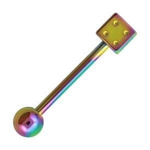 Piercing Lengua Anodizado Multicolor Dado