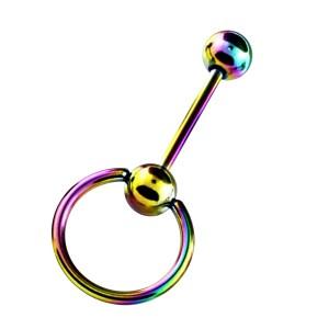 Zungenpiercing Eloxiert Mehrfarbig Sklave Ring BCR Klemmring