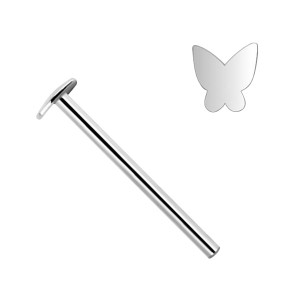 Butterfly 14K White Gold Nose Piercing Straight Pin Ring