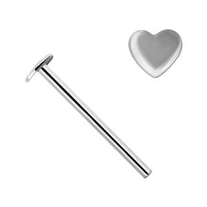 Piercing Nez Pin Droit Or Blanc 14K Coeur