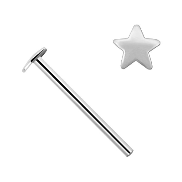 26389570fa992 Star 14K White Gold Nose Piercing Straight Pin Ring