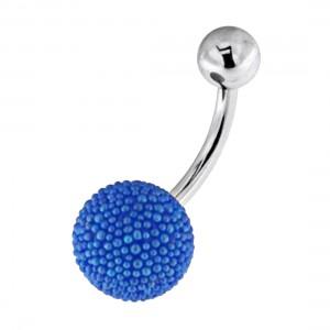 Piercing Nombril Boule Petites Perles Synthétiques Bleu Foncé