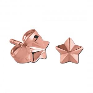 Boucles d'Oreilles Stud Acier 316L PVD Rose Moulées Etoile Relief