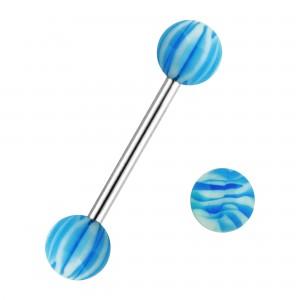 Piercing Langue Bandes Zebra Bleu Deux Boules
