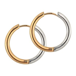 Rose Gold/Metallized Bicolor Simple Hoop 316L Earrings Ear Pair