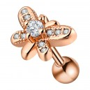 Butterfly & 11 White Strass Rose Gold 316L Steel Tragus/Helix Piercing