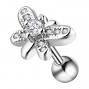 Butterfly & 11 White Strass Metallized 316L Steel Tragus/Helix Piercing