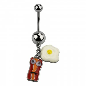 Egg & Bacon Pendant 316L Steel Belly Button Ring