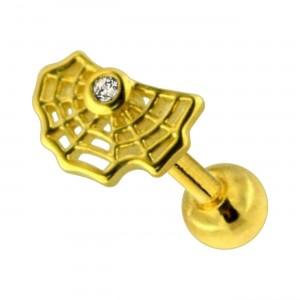Piercing Helix / Tragus Stahl 316L Eloxiert Golden Spinnennetz & Strass