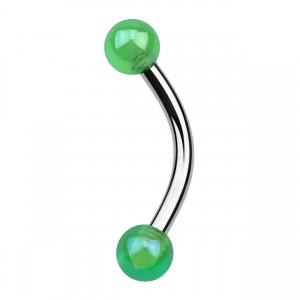 Balls Green Shimmering Effect Acrylic Eyebrow Curved Bar Ring