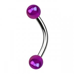 Piercing Arcade Acrylique Effet Miroitant Violet Boules