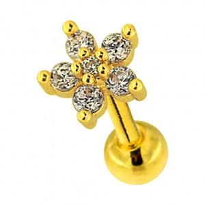 Flower & 6 White Strass Golden 316L Steel Tragus/Helix Piercing