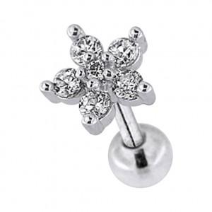 Piercing Tragus / Helix Stahl 316L Metallisiert Blume & 6 Weiße Strass
