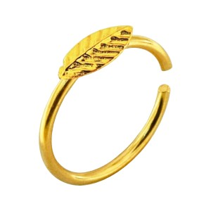 Leaf Gold Plated 925 Silver Very Thin Nose Ring Piercing