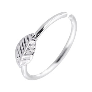 Leaf Metallized 925 Silver Very Thin Nose Ring Piercing